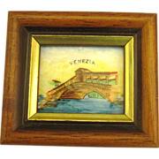 Vintage Framed Italian Painting on Copper