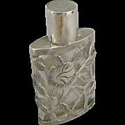 Vintage Sterling Over Glass Glass Perfume Bottle
