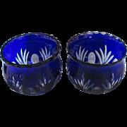 Two Vintage Bohemian Cobalt Blue Cut to Clear Crystal Bowl Set