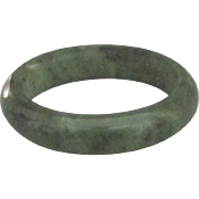 Vintage Deep Green Nephrite Jade Band Ring- Size 7 1/2