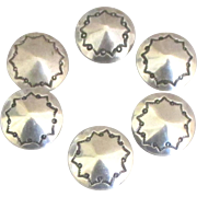 Vintage Navajo Sterling Silver Buttons- 6