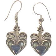 Ornate Sterling Lapis Heart Pierced Earrings