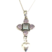 Pretty Vintage Sterling Amethyst Moonstone Pendant with Heart Dangle