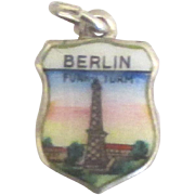 Vintage Colorful Enamel 800 Berlin Germany Travel Shield Charm