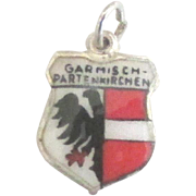 Vintage Enamel Garmisch Germany Travel Shield Charm