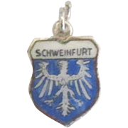 Vintage Schweinfurt Germany Enamel 800 Silver Travel Shield Charm