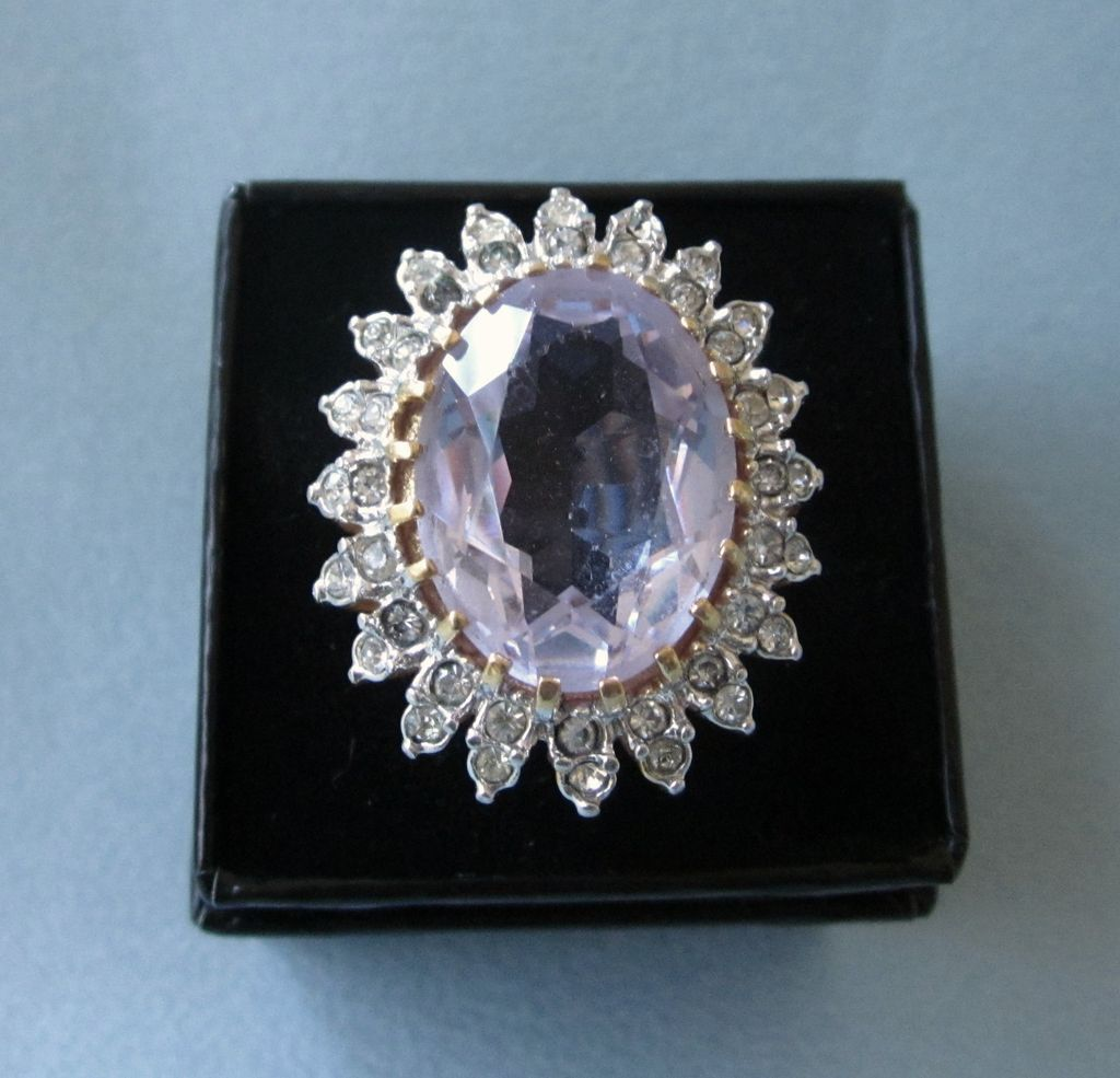 Vintage 18KT Electroplate Cocktail Ring, Faux Amethyst and Rhinestones