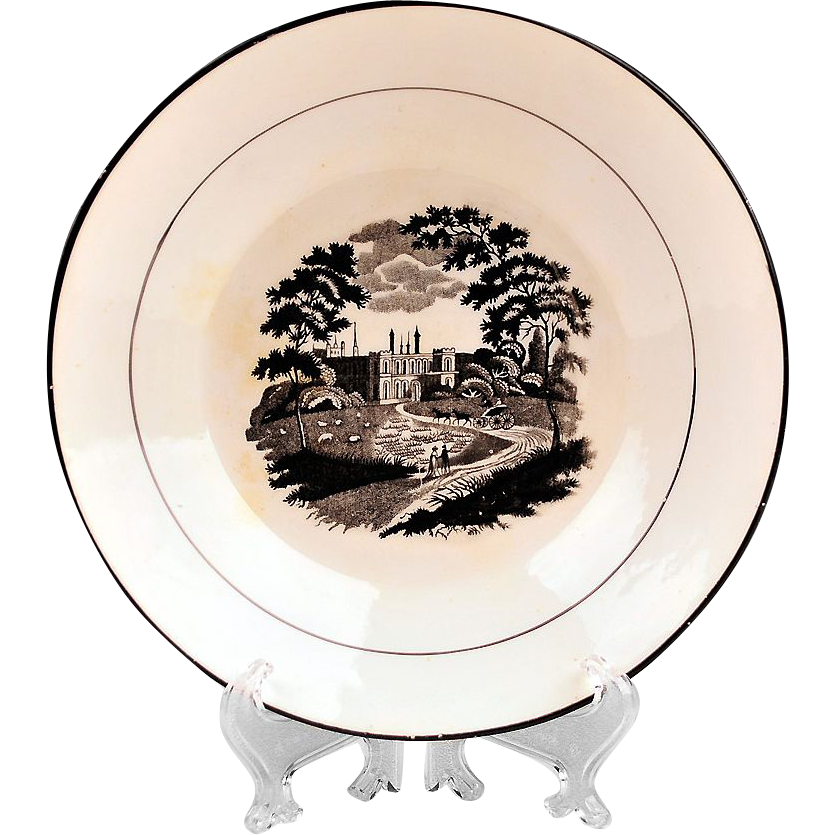 1800-20 Black and White Bat Printed Slop Plate
