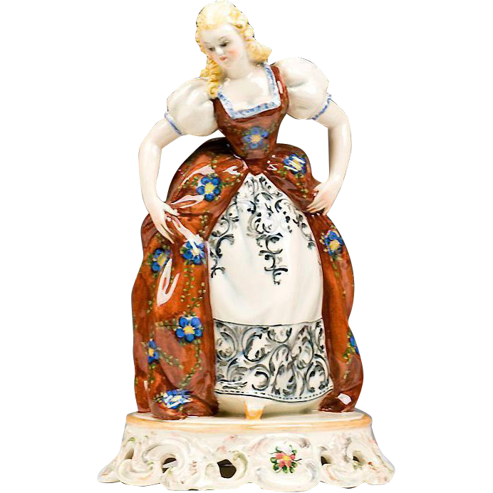 Italian Ceramic Hand Painted Figurine of Maiden