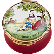 1970 – 1979 Bilston And Battersea Halcyon Days Enamel Anniversary Box