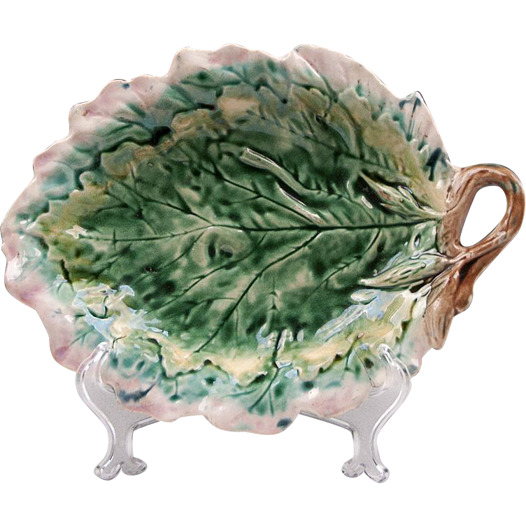 Griffin Smith & Hill Majolica Etruscan Leaf Tray