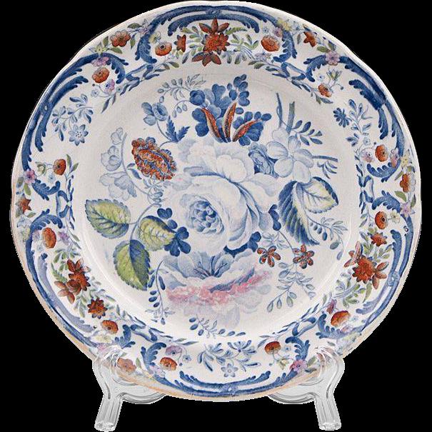 Pr. Of Early 19th C. Polychrome Enamel Ironstone Dessert Plates