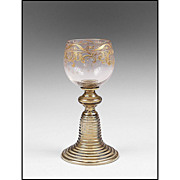 Antique Bavarian White Wine Enamel Glass Roemer or Goblet