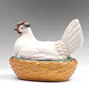 Late 19th C. Staffordshire Hen On Nest