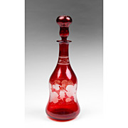Early 20th C. Bohemian Ruby Glass Etched Wine Decanter