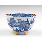 18th C. Blue & White Caughley Salopian Tea Bowl