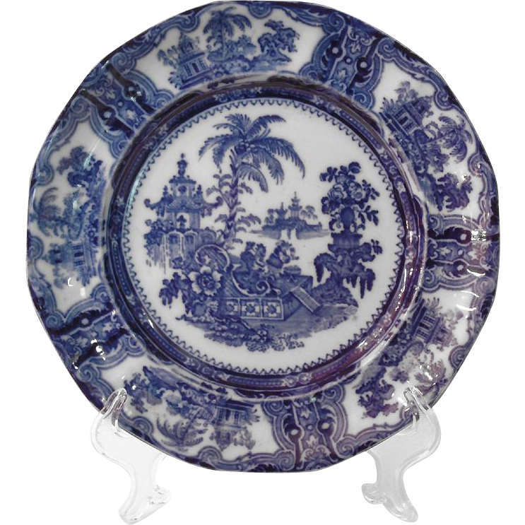 W. Adams & Co. Flow Blue Oriental Plate