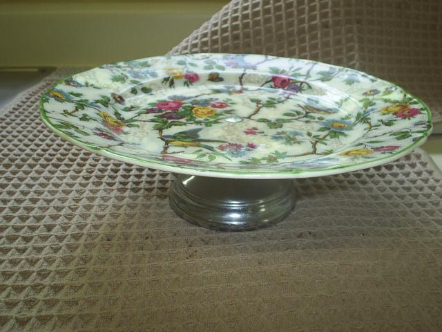 """Lorna Doone' or 'Bird Chintz' pedestal plate, 1940s pretty!"