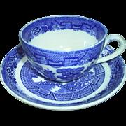 Blue Willow Cup & Saucer, Allerton's Eng.