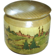 Vintage treen ware box, Eng. country scene
