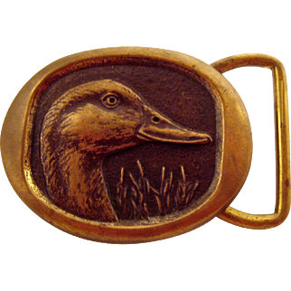 Vintage Bronze Belt Buckle Duck Signed Steven Knight Dated 1984