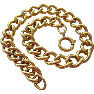 12K Gold Filled Starter Charm Bracelet Curb Link Signed
