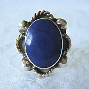 Sterling Silver 925 Lapis Ring Substantial & Low Profile