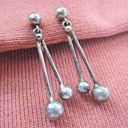 Vintage Sterling Silver 925 Dangle Screw Back Earrings