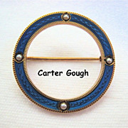 Carter Gough 14K Gold Cobalt Enamel Guilloche Circle Pin Seed Pearls