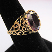 Vintage 14K Gold Open Work Ring Amethyst Paste