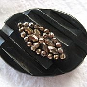 Black Bakelite & Cut Steel Mourning Pin Brooch
