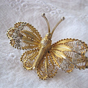 Gilt Filigree Butterfly Pin Brooch 800 Silver