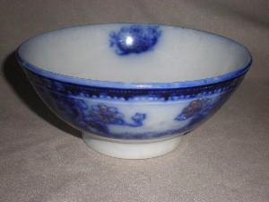 "Beautiful English Wood & Sons ""Seville"" Flow Blue Bowl"