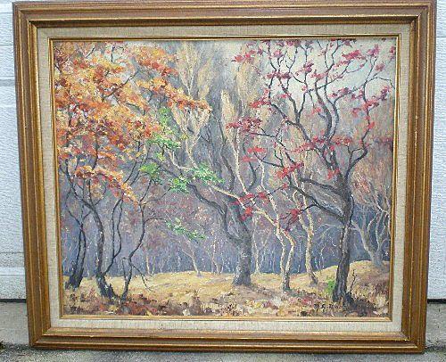 "Original California Artist ""Margaret Morrish"" (1893-1975) Trees Oil Painting"