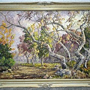 "Original California Artist ""Margaret Morrish"" (1893-1975) Large Trees Oil Painting"