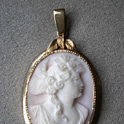 Gorgeous Pink Shell Cameo Pendant with 14k Gold Frame