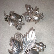 Magnificent Mexican Sterling Silver Grape Leaf Pin & Earrings