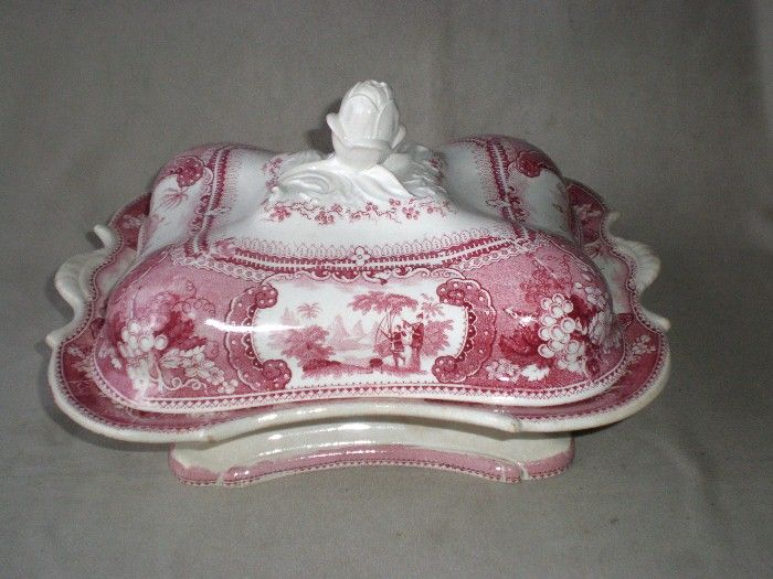Early 19th Century Enoch Woods & Sons Red Transfer Tureen - Belzoni