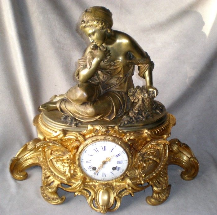 Stunning Antique French Figural Mantel Clock