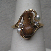Gorgeous 14k Gold and Black Coral / Pearl / Diamond Ring