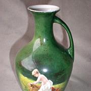 Marvelous Antique German Vase / Ewer with Bathing Nude