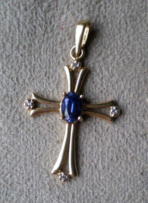 Beautiful 10k Gold Cross with Tanzanite and Diamonds