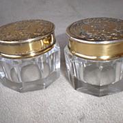 2 Beautiful Gorham Sterling Silver and Crystal Dresser Jars