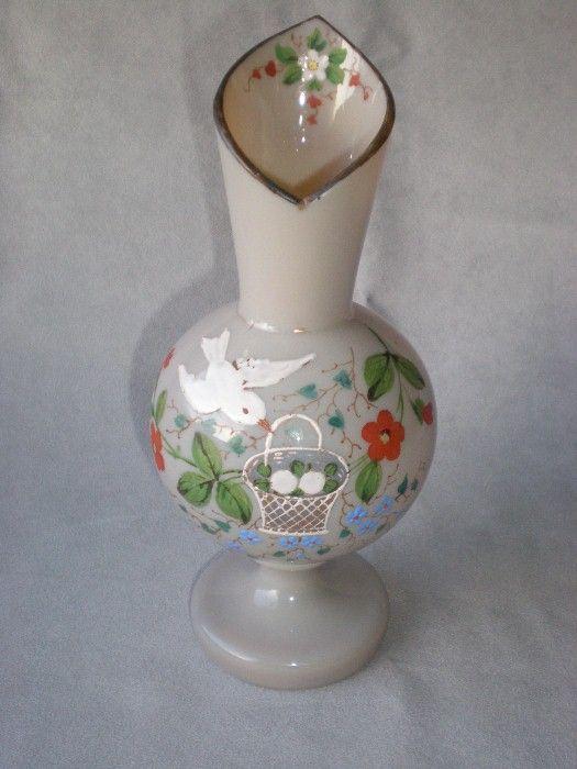 Gorgeous Painted Bristol Vase W/ Bird