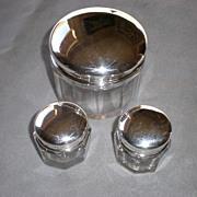 Fabulous 3 Piece Sterling and Crystal Dresser Jar Set