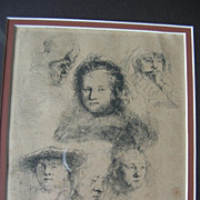 Magnificent Basan 2nd State Rembrandt Etching - Study of Five Heads