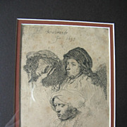 Magnificent Basan 2nd State Rembrandt Etching - Study of Three Heads