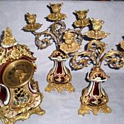 Antique Lenzkirch Porcelain and Brass Ormolu Clock Garniture Set