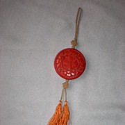 Beautiful Vintage Carved Cinnabar Medallion