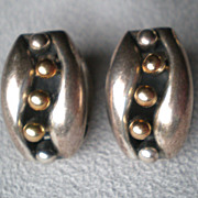 Wonderful Vintage Sterling & 14k Gold Earrings